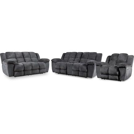 Mellow Manual Reclining Sofa, Loveseat and Recliner - Gray