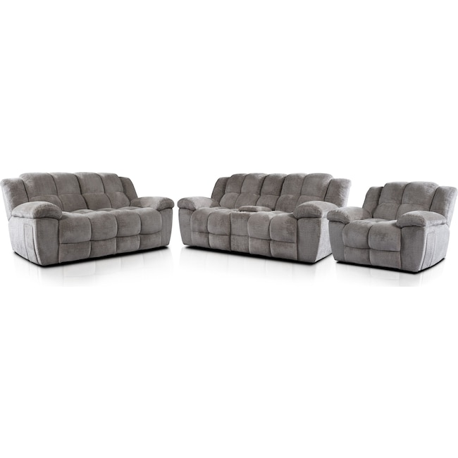 Living Room Furniture - Mellow Manual Reclining Sofa, Loveseat and Recliner - Stone
