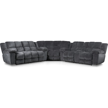 Mellow 3-Piece Manual Reclining Sectional with 4 Reclining Seats - Gray