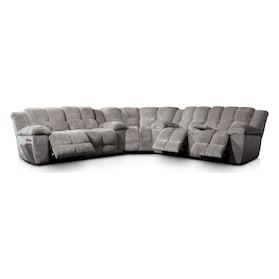 Mellow 3-Piece Manual Reclining Sectional with 4 Reclining Seats - Stone