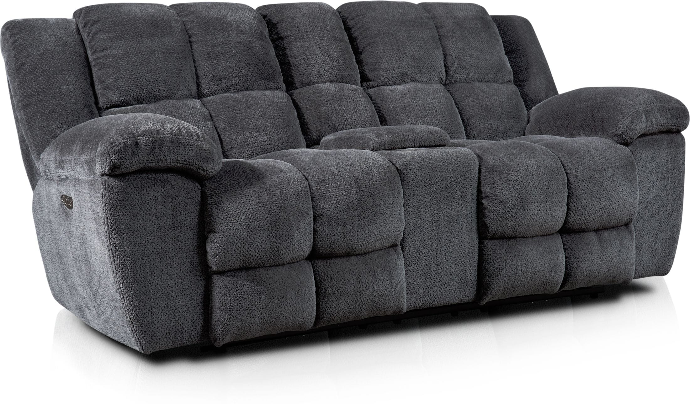 Living Room Furniture - Mellow Dual-Power Reclining Loveseat - Gray
