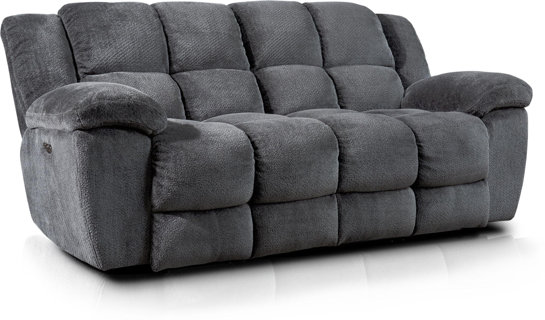 Living Room Furniture - Mellow Dual-Power Reclining Sofa - Gray