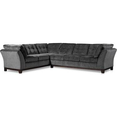 Melrose 2-Piece Large Sectional with Left-Facing Sofa - Charcoal