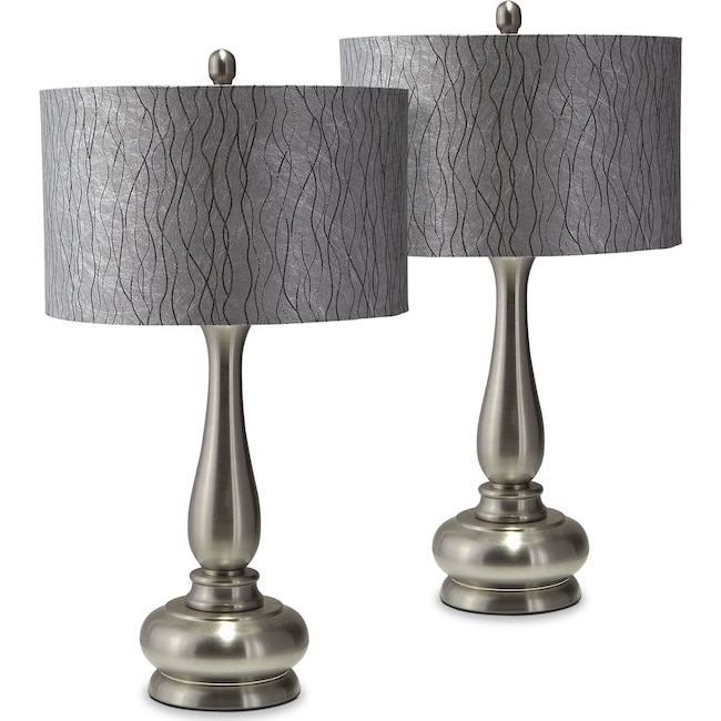 Home Accessories - Metal Set of 2 Table Lamps