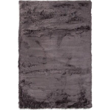Faux Mink Fur 8' x 10' Area Rug - Charcoal
