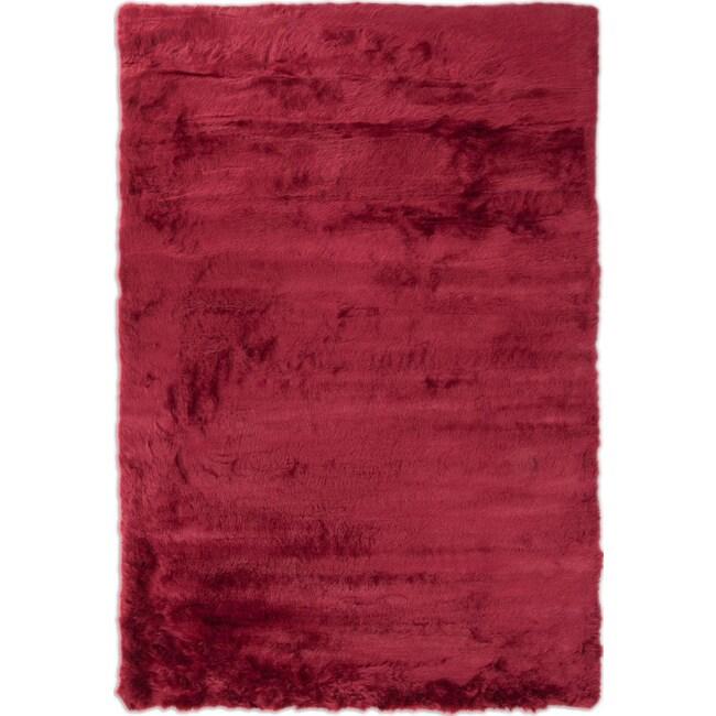 Rugs - Faux Mink Fur Area Rug - Ruby