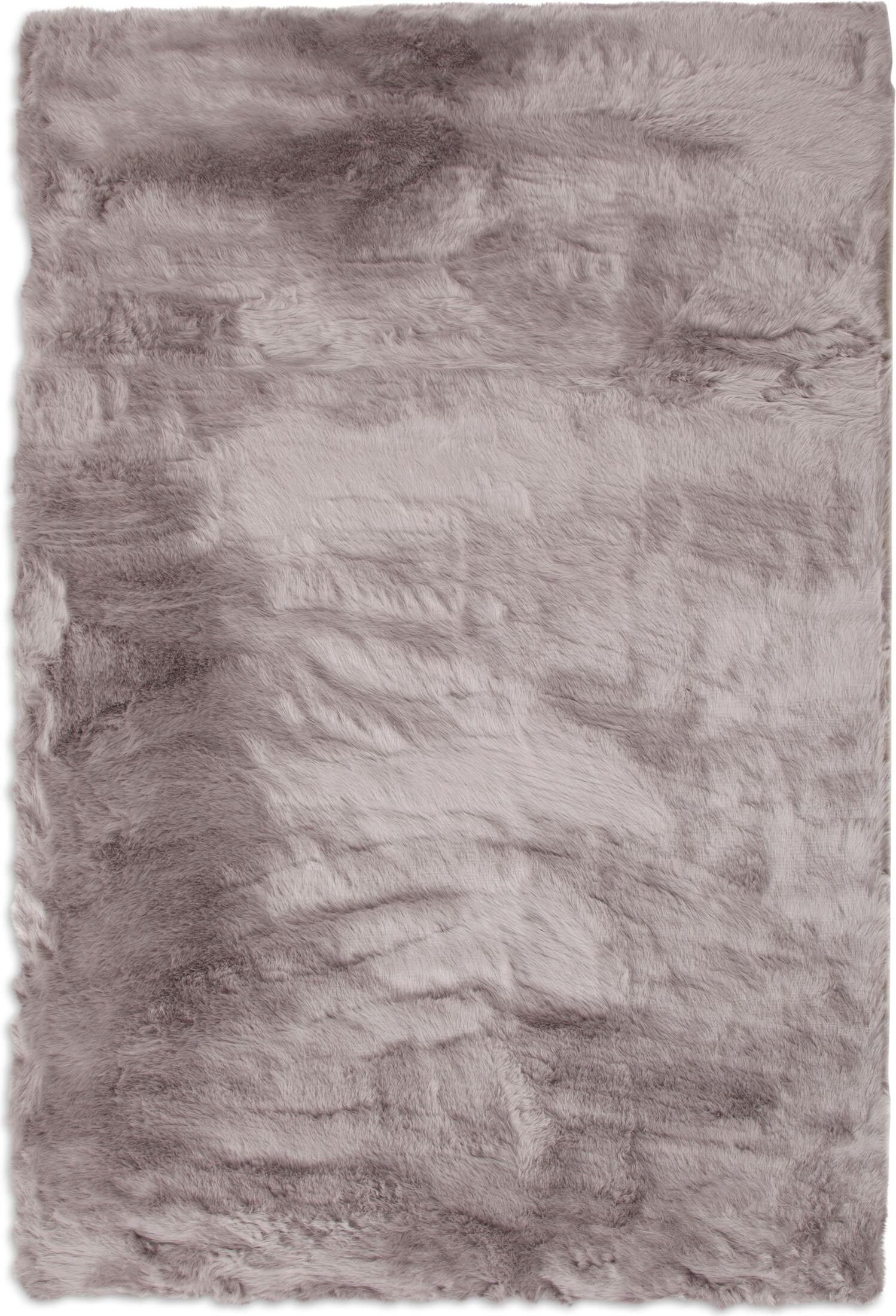 Rugs - Faux Mink Fur Area Rug - Silver