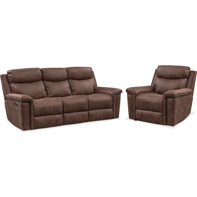 Living Room Furniture - Montana Manual Reclining Sofa and Recliner Set