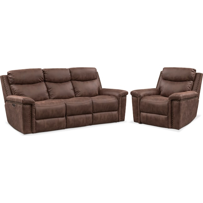 Living Room Furniture - Montana Dual-Power Reclining Sofa and Recliner Set