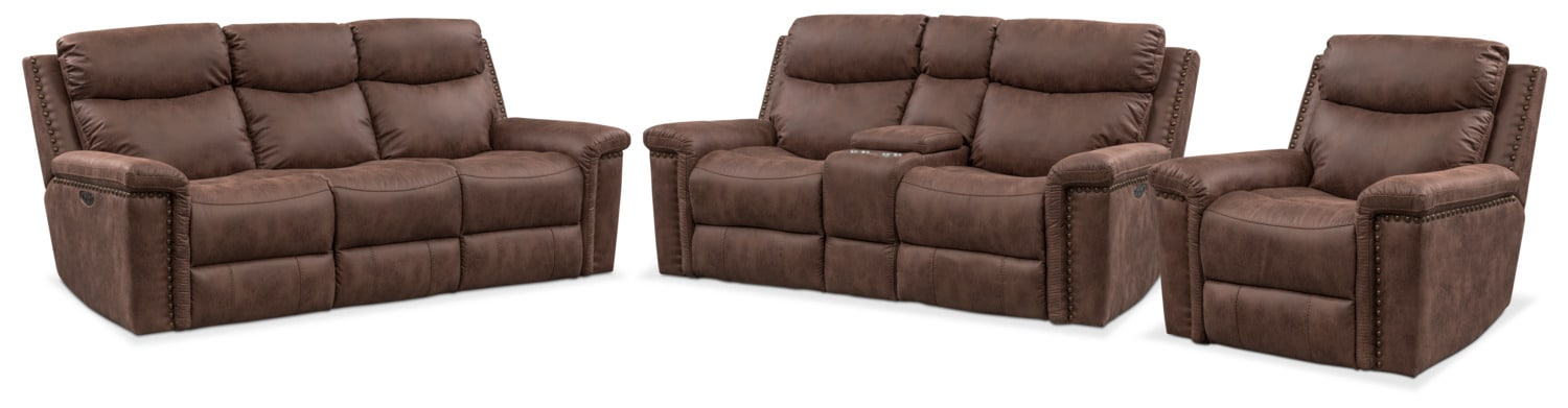 Living Room Furniture - Montana Dual-Power Reclining Sofa, Loveseat and Recliner