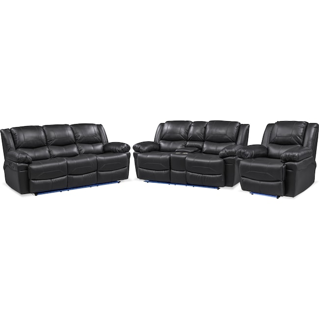 Living Room Furniture - Monza Manual Reclining Sofa, Loveseat and Recliner