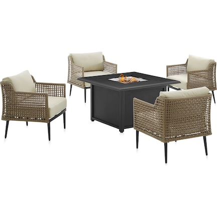 Moreno Set of 4 Outdoor Chairs and Fire Table Set