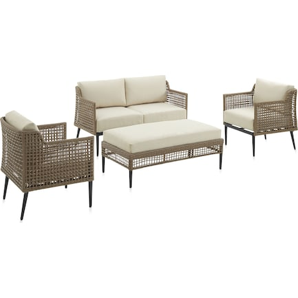 Moreno Outdoor Loveseat, Set of 2 Chairs and Coffee Table Set