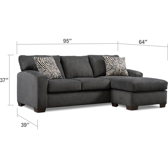 Living Room Furniture - Nala 2-Piece Sectional with Chaise