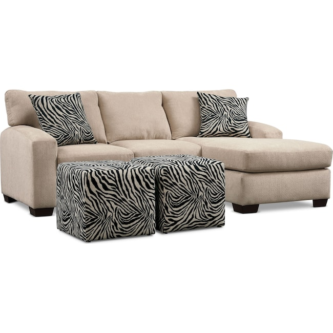 Living Room Furniture - Nala 2-Piece Sectional with Chaise and 2 Cube Ottomans