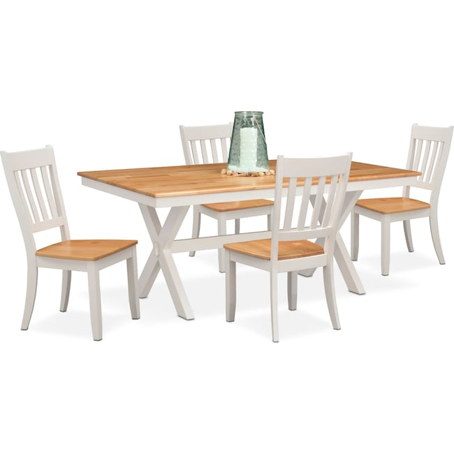 Dining Room Furniture - Nantucket Trestle Dining Table and 4 Slat-Back Dining Chairs