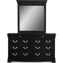 neo classic black black dresser & mirror