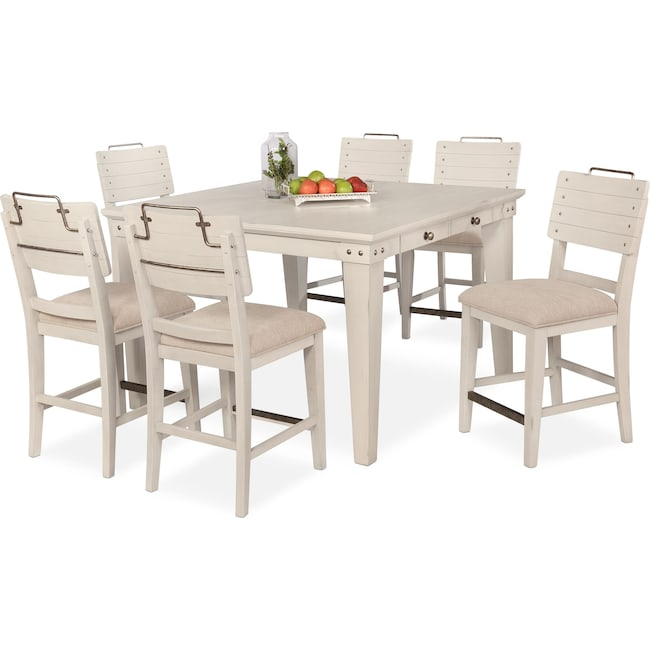 Dining Room Furniture - New Haven Counter-Height Dining Table and 6 Shiplap Stools