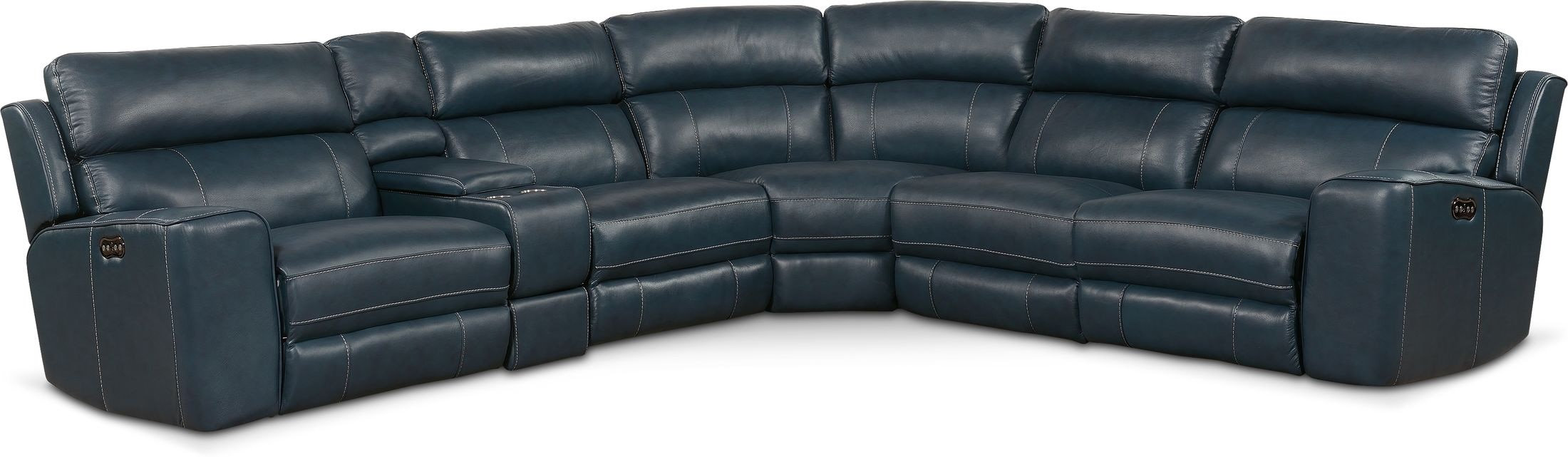 Living Room Furniture - Newport 6-Piece Dual-Power Reclining Sectional with 2 Reclining Seats