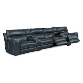 Newport 6-Piece Dual-Power Reclining Sectional with 4 Reclining Seats