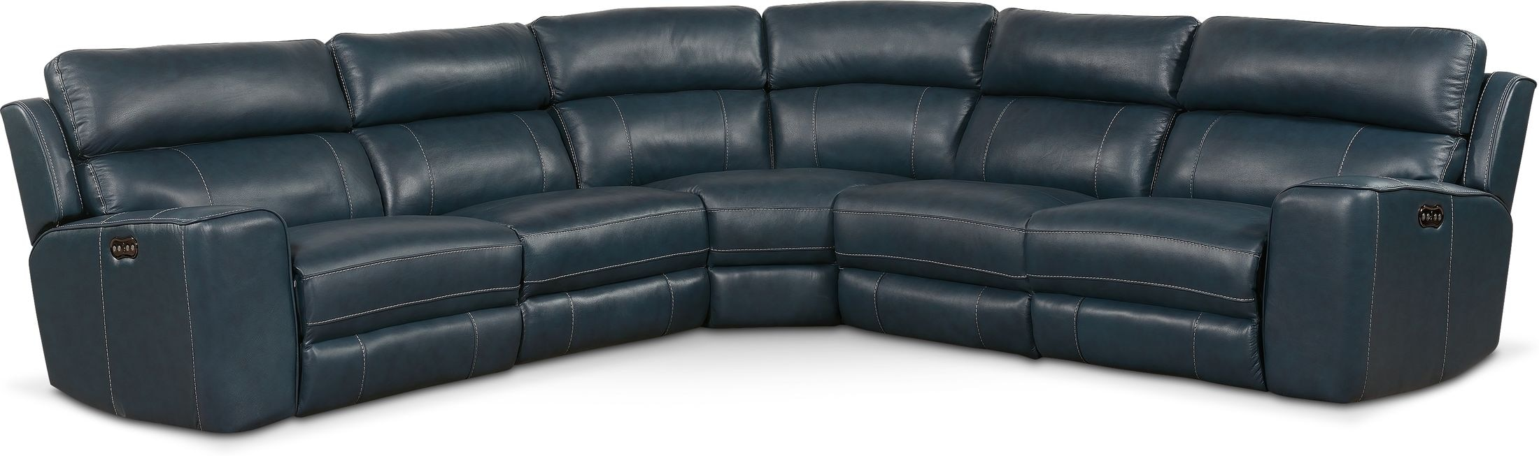 Living Room Furniture - Newport 5-Piece Dual-Power Reclining Sectional with 3 Reclining Seats