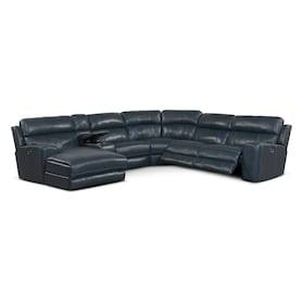 Newport 6-Piece Dual-Power Reclining Sectional with Chaise and 2 Reclining Seats