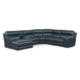Newport 6-Piece Dual-Power Reclining Sectional with Chaise and 1 Reclining Seat