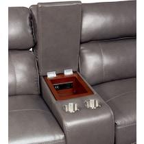 newport gray  pc power reclining sofa