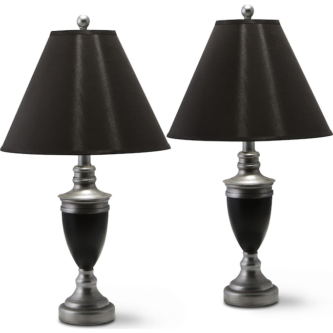 Home Accessories - Nickel Set of 2 Table Lamps