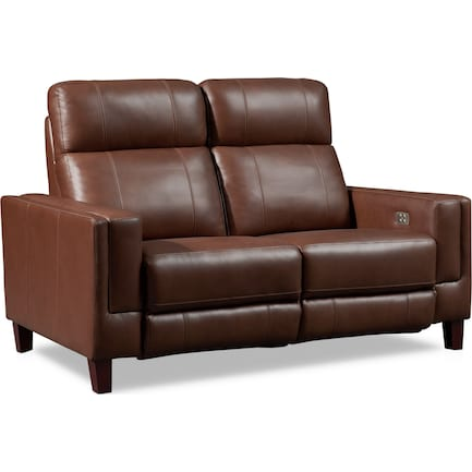 Oliver Dual-Power Reclining Loveseat - Brown