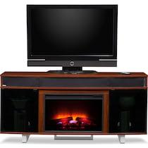 pacer cherry dark brown fireplace tv stand