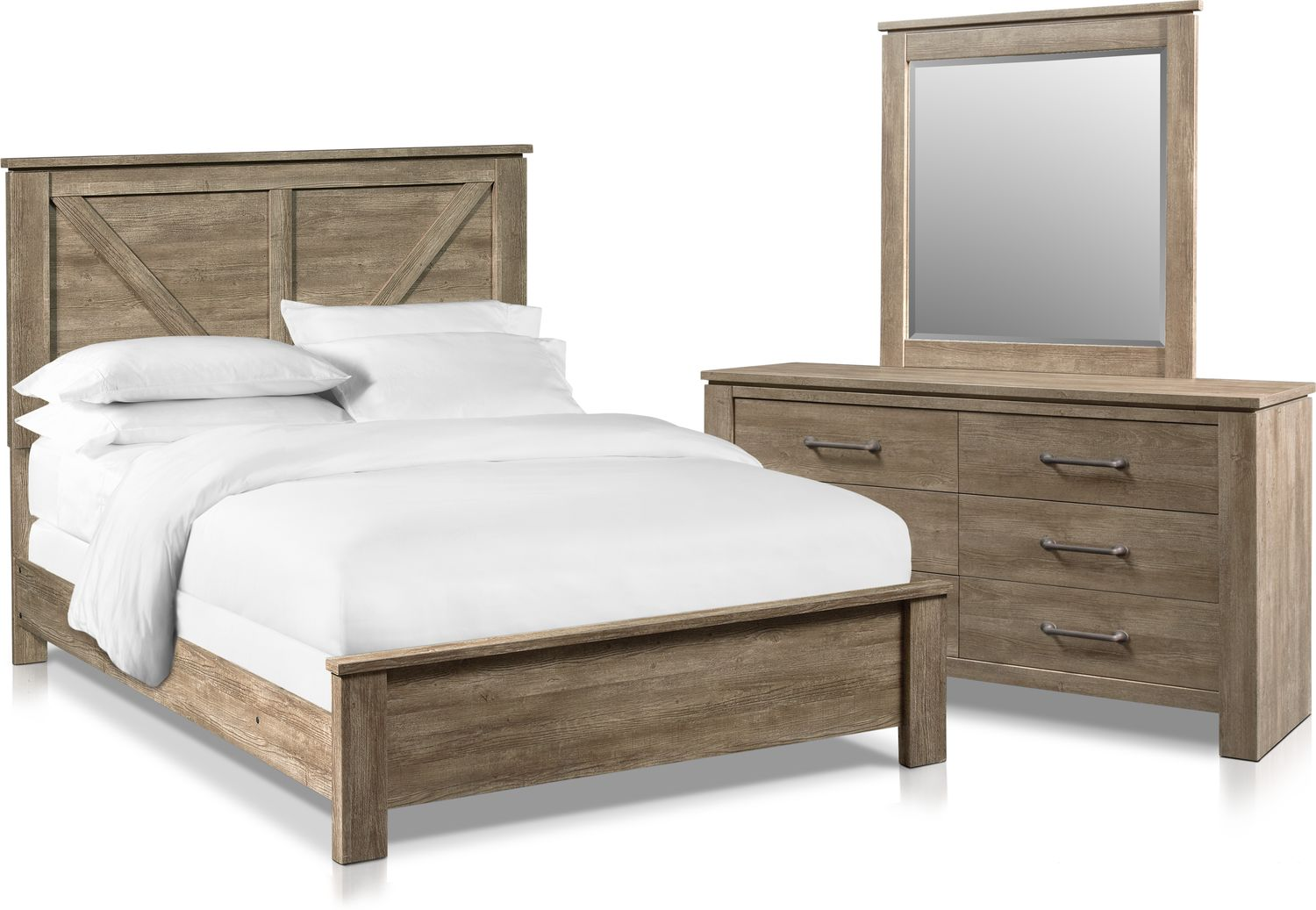 Bedroom Furniture - Perry 5-Piece Bedroom Set with Dresser and Mirror