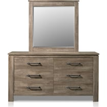 perry light brown dresser & mirror