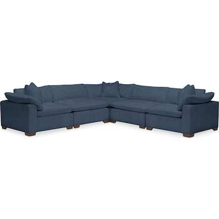 Plush Feathered Comfort 5-Piece Performance Fabric Sectional - Peyton Navy