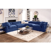 plush blue  pc sectional