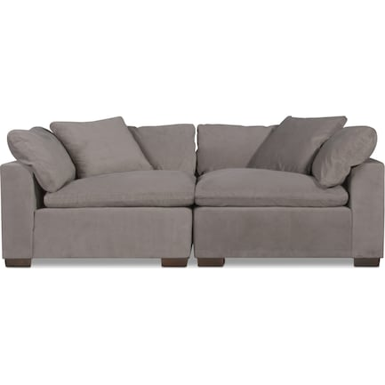 Plush Feathered Comfort 2-Piece Sectional - Gray