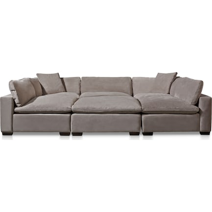 Plush Feathered Comfort 6-Piece Sectional - Fog
