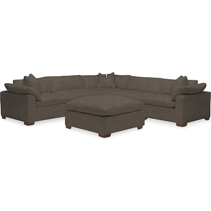 Plush Feathered Comfort Feathered Comfort 5-Piece Sectional with Ottoman - Laurent Charcoal
