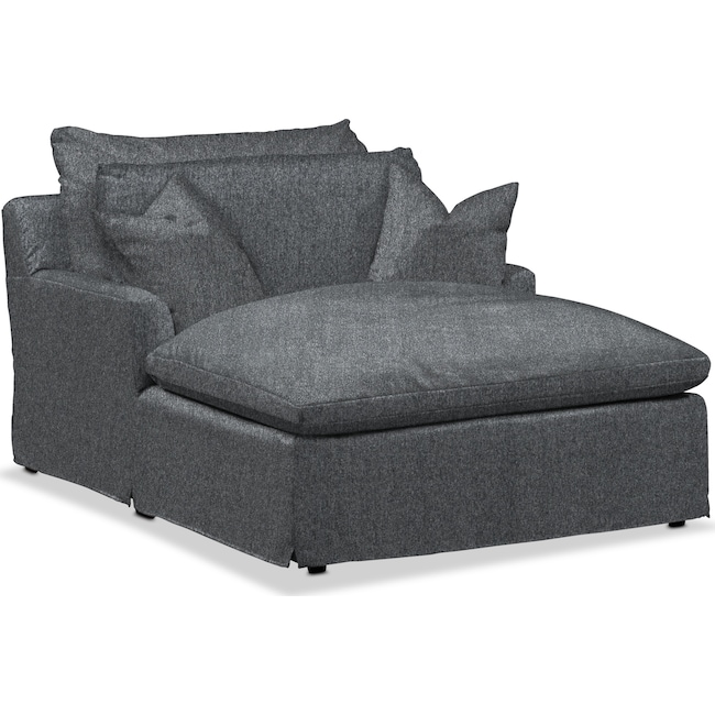 Living Room Furniture - Plush Chaise - Flannel