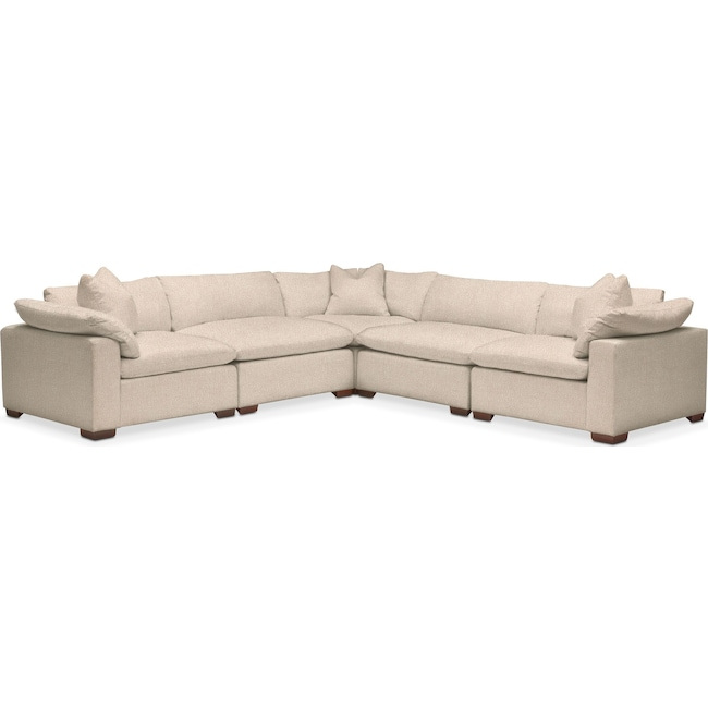Living Room Furniture - Plush Performance 5-Piece Sectional- Halifax Shell