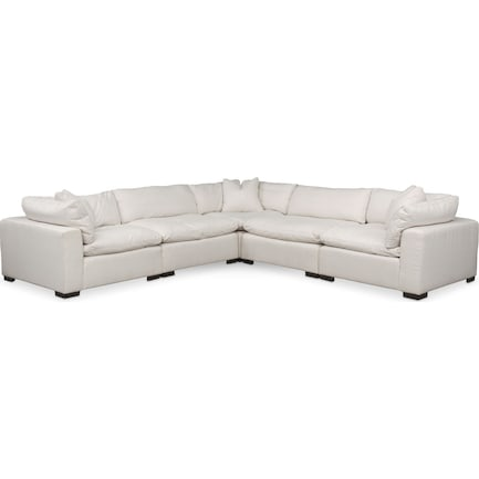 Plush Feathered Comfort 5-Piece Sectional - Ivory