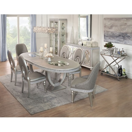 Posh Dining Table, 4 Dining Chairs and 2 Host Chairs