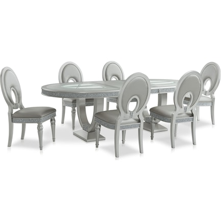Posh Dining Table and 6 Dining Chairs