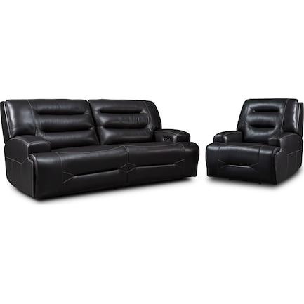 Preston Dual-Power Reclining Sofa and Recliner Set - Black