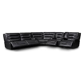 Preston 3-Piece Dual-Power Reclining Sectional with 4 Reclining Seats - Black