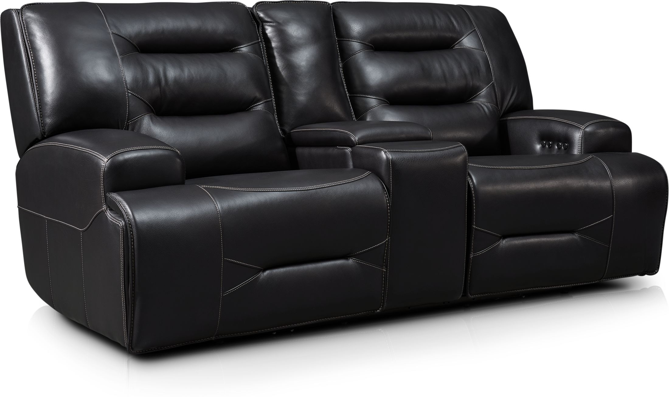 Living Room Furniture - Preston Dual-Power Reclining Loveseat - Black