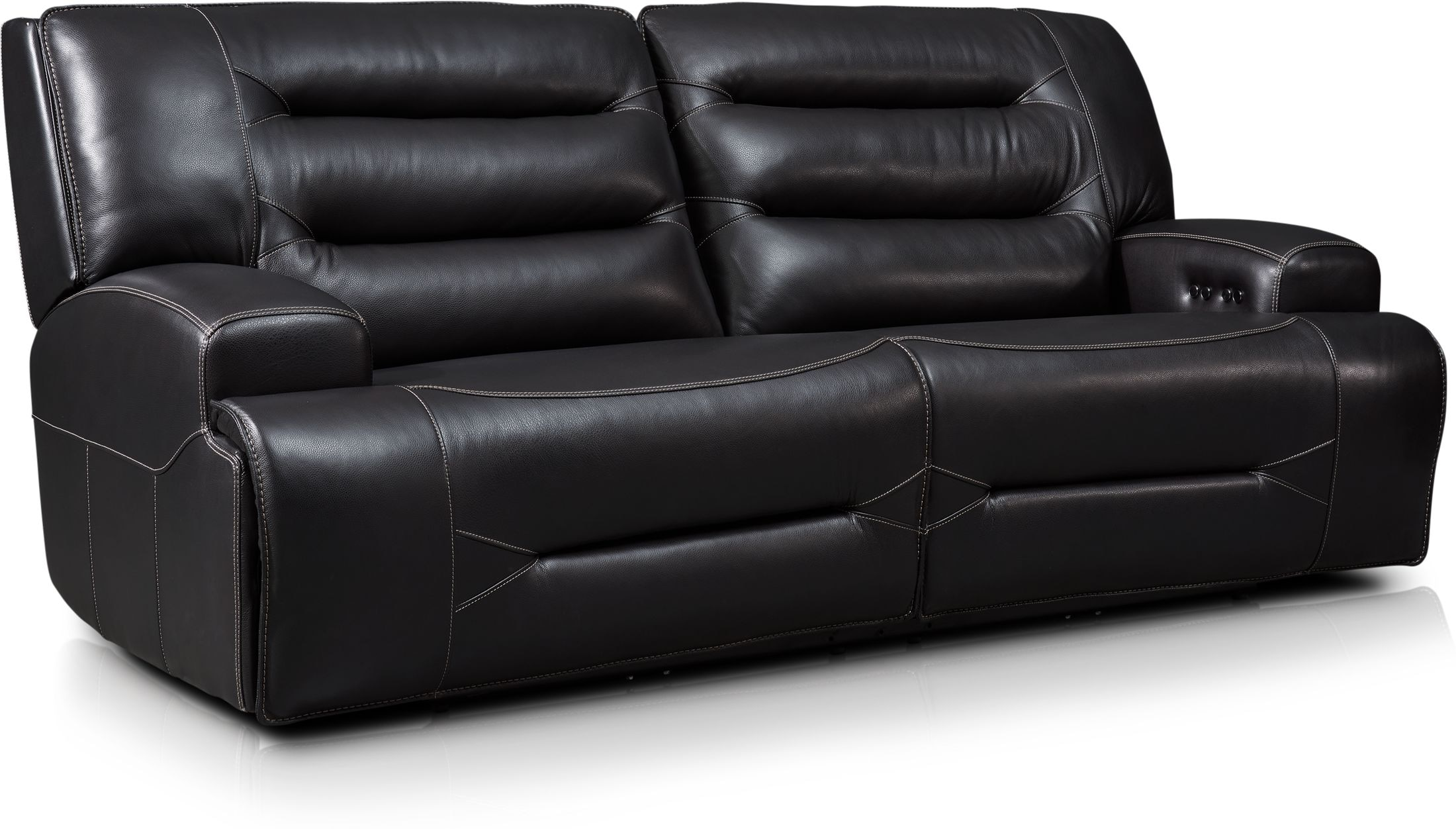 Living Room Furniture - Preston Dual-Power Reclining Sofa - Black