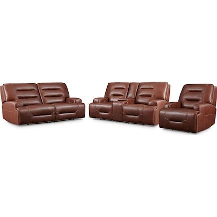 Preston Dual-Power Reclining Sofa, Loveseat and Recliner - Caramel