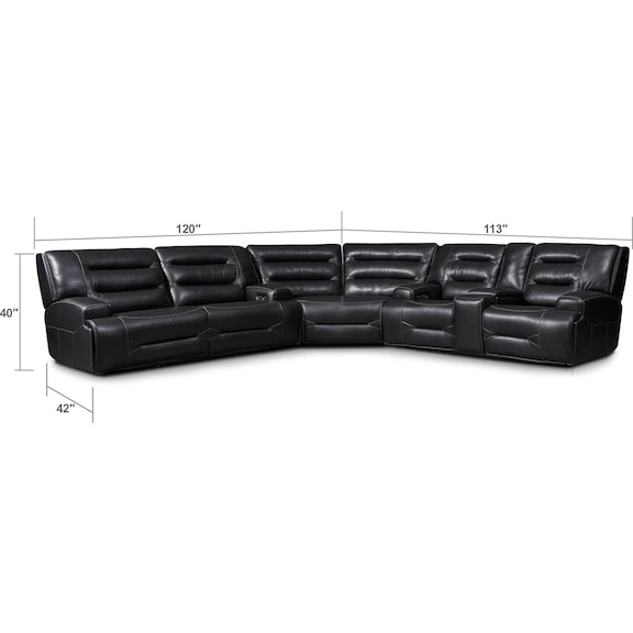 Living Room Furniture - Preston 3-Piece Dual-Power Reclining Sectional with 4 Reclining Seats - Black