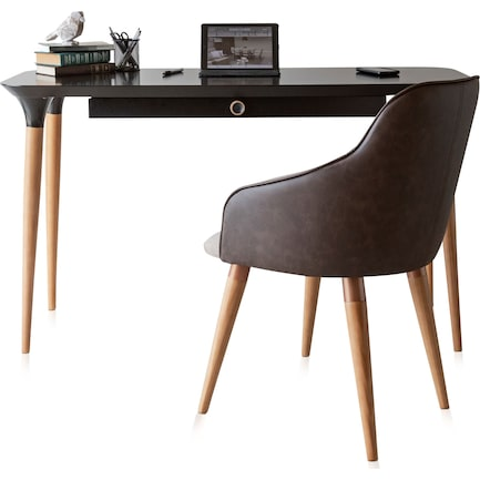 Princeton Desk and Quil Chair - Black/Brown